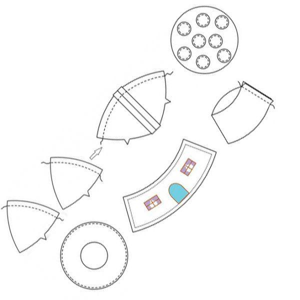 Выкройки всех необходимых деталей перерисуем на бумагу, увеличив выкройку до нужных нам размеров. Все детали вырежем из бумаги, разложим их на фетре нужных цветов, обведем по контуру и вырежем, оставив небольшой припуск на швы (примерно 0.5-0.7 см).