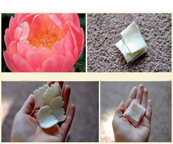 Из квадратиков белого фетра вырежьте лепестки с рваными краями. Чтобы цветок был пышным, их должно быть много.