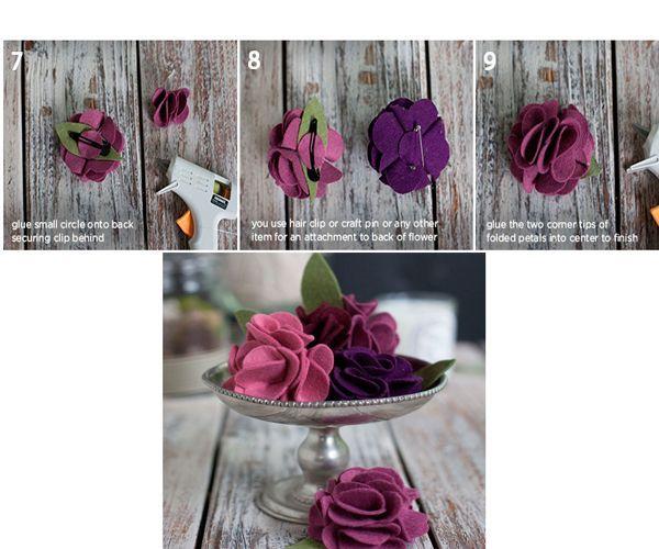 Когда клей полностью высохнет, переверните цветок, промажьте его основание клеем и приклейте листочек. Круглую заготовку вставьте в заколку, как показано на фото.
