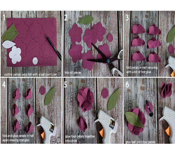 Все детали вырежьте из фетра. Каждую деталь для цветка промажьте клеем и согните пополам (пальцами сжимайте заготовку до тех пор, пока клей полностью не высохнет). Снова промажьте деталь для цветка клеем и снова сложите пополам.