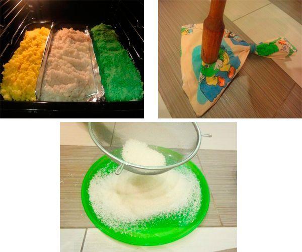 Размешайте гуашь с солью, запеките в духовке, пока соль не станет сухой. Просейте и насыпьте в бутылки.