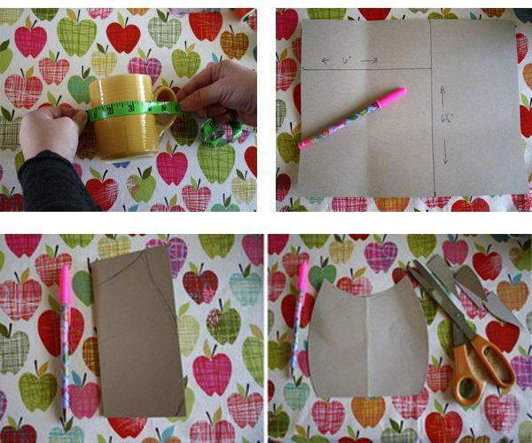 Измерьте чашку, нарисуйте выкройку, перенесите ее на ткань. Вырежьте.