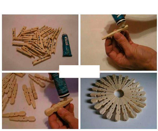 Разберите прищепки на половинки. Сложите их по кругу, каждую смазывая клеем. Можно покрасить готовую подставку акриловой краской и вскрыть лаком.