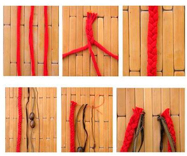 Ткань разрежьте  на ленты и заплетите из них косу. Подготовьте такой же длины кожаные шнуры и нанижите на них бусины.