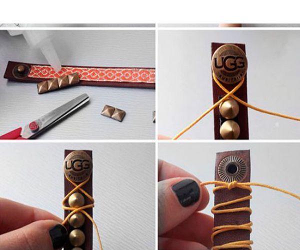 Прикрепите нить мулине к застежке первого браслета. Обмотайте ее вокруг шипов, закрепите. Ко второму браслету приклейте металлические кнопки или шипы.