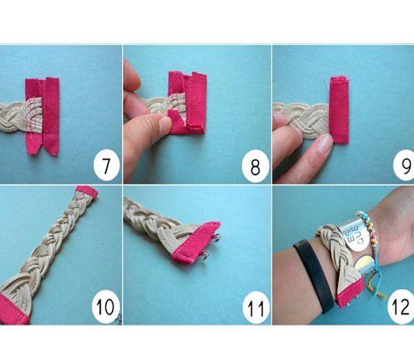 Края браслета закрепите специальными зажимами либо оберните полосками из ткани. Пришейте застежку.