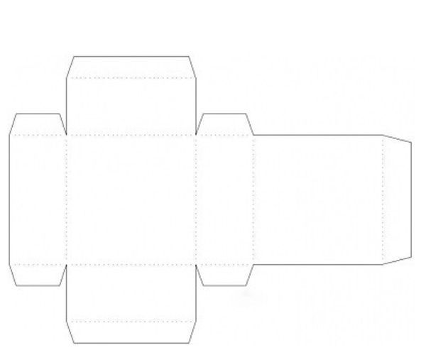 Для начала нанесите на бумагу схему будущей коробки. Согните в отмеченных местах заготовку.