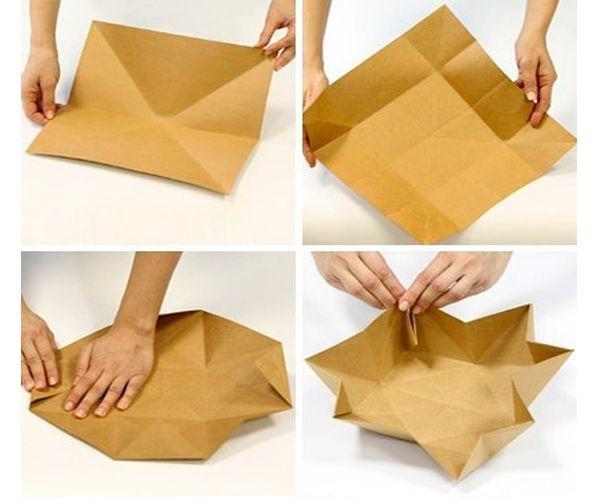 Возьмите квадратный дист бумаги. Согните его так, как показано на фото.