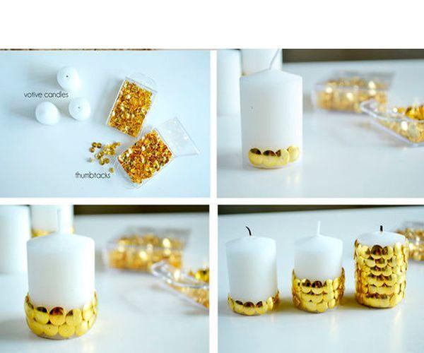 Кнопки вкалываем в свечу так, чтобы не оставалось пустых промежутков.