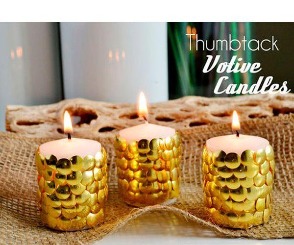 Для работы нам понадобится свеча и канцелярские кнопки. Делается такая свеча очень просто.