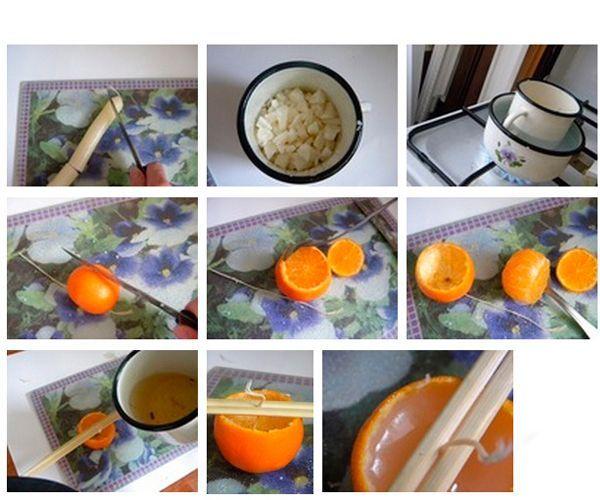 Растопим свечу на водяной бане, зальем парафин в кожуру апельсина. Закрепим фитиль.