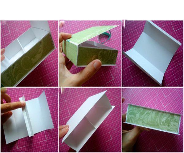 Согните по краям отрезки скрап-бумаги и приклейте друг к другу одной стороной. Сверху приклейте еще один отрезок плотной бумаги, размером 10 см на 10 см. Склейте нижний и верхний ярус, обклейте скрап-бумагой пустые места.