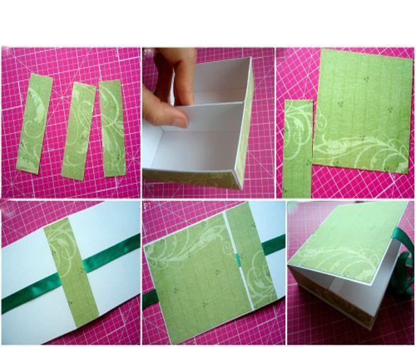 Подготовьте скрап-бумагу и атласную ленту. Ленту приклейте к плотной бумаге, внутрь приклейте склеенные ящички. Завяжите верхнюю заготовку.