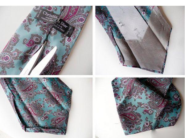 Берем галстуки и удаляем все ненужные вещи, ниточки разные, подкладки, бирочки. Оставляем чистую ткань из шелка.