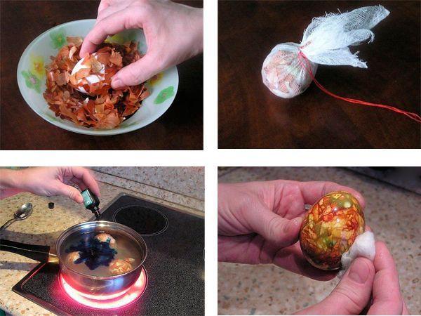 Обваливаем яйцо в шелухе, заворачиваем в марлю. Варим, капаем в воду зеленку. Сваренное яйцо натираем растительным маслом.