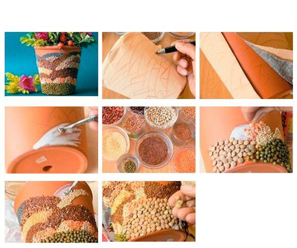 Карандашом нанесите на поверхность горшка рисунок. Смазывая каждый участок клеем, посыпайте его разным видом круп. Высушенный горшок покройте лаком.