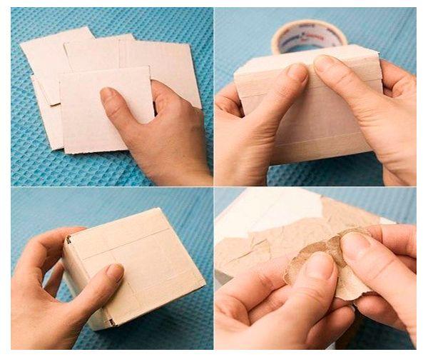 Из картона сделайте коробку чуть большего размера, чем горшок.