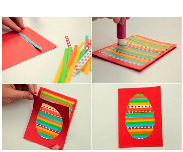 С внутренней стороны будем приклеивать разноцветные плоски шириной 5-7 мм, чередуя цвета. Когда все пространство будет заполнено, промажем клеем лицевую сторону открытки и приклеим к цветному фону.