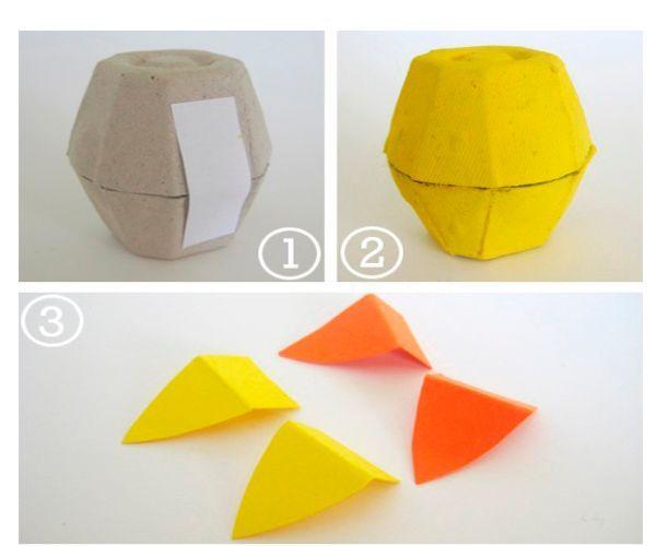 Вырежем две ячейки из лотка. Склеим их между собой полоской бумаги. Окрасим в желтый цвет.