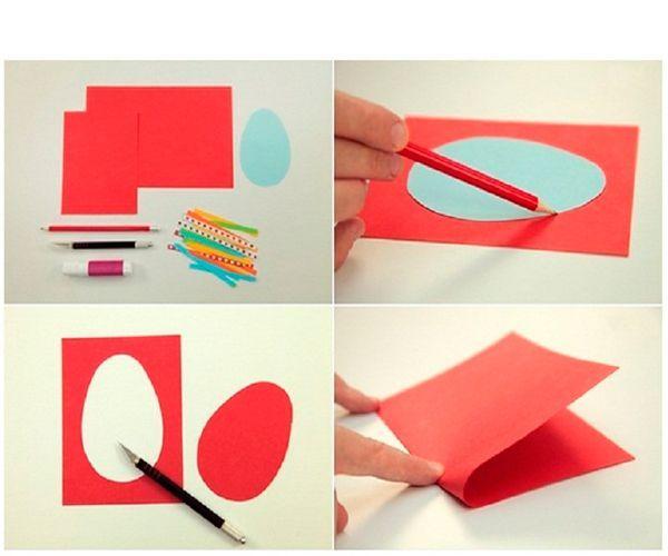 Чтобы сделать пасхальную открытку, возьмем лист красной цветной бумаги, сложим его пополам, далее в центре рисуем силуэт яйца. Маленькими ножницами аккуратно вырезаем по контуру.