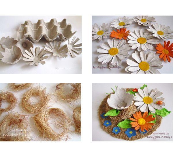 Из лотка вырезаем цветы, окрашиваем. Из сезаля делаем гнезда. Размещаем их на подставке.
