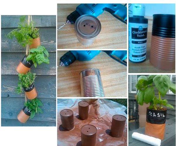 Чтобы сделать подвесной сад, просверлите в банках отверстия для шнура, банки окрасьте в любой цвет. Посадите цветы и подвесьте банки.