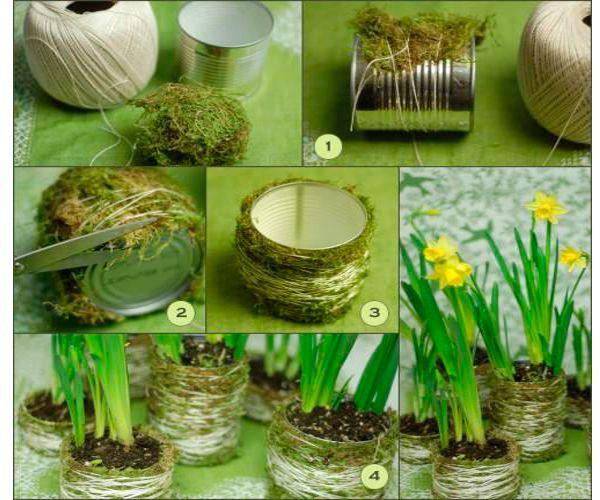 Из банки можно сделать стильный цветочный горшок. Для этого ниткой примотайте на ее поверхность мох или сезаль так, чтобы не оставалось пустот.
