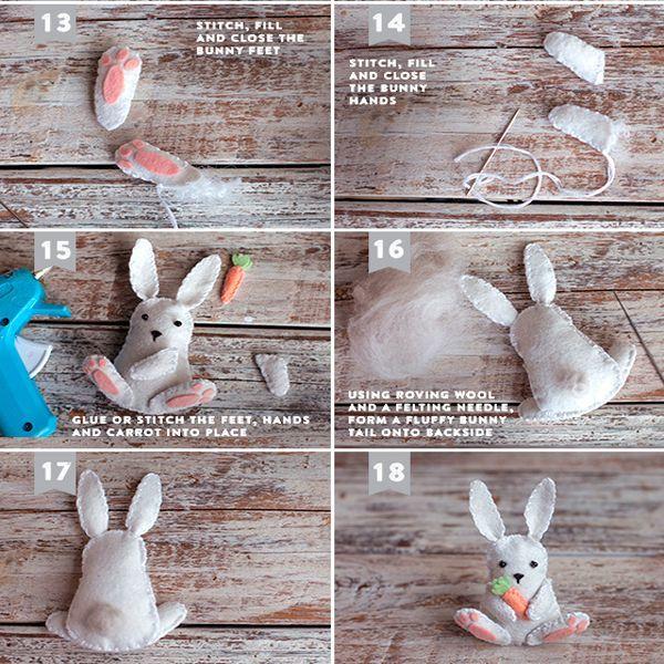 Пришьем лапки и другие детали. Пасхальный кролик готов.