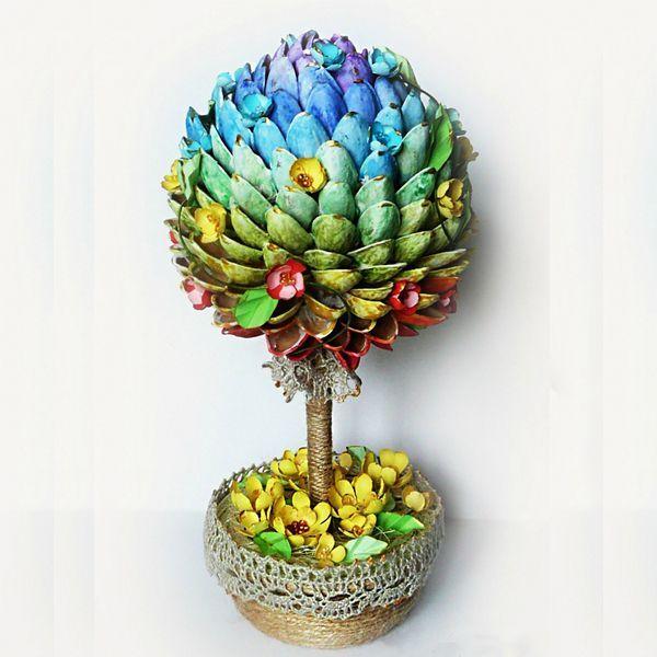 Чтобы сделать радужный топиарий, нам понадобится: основа-шар, скорлупа фисташек, краски, емкость, алебастр, кружево и прочие элементы декора.