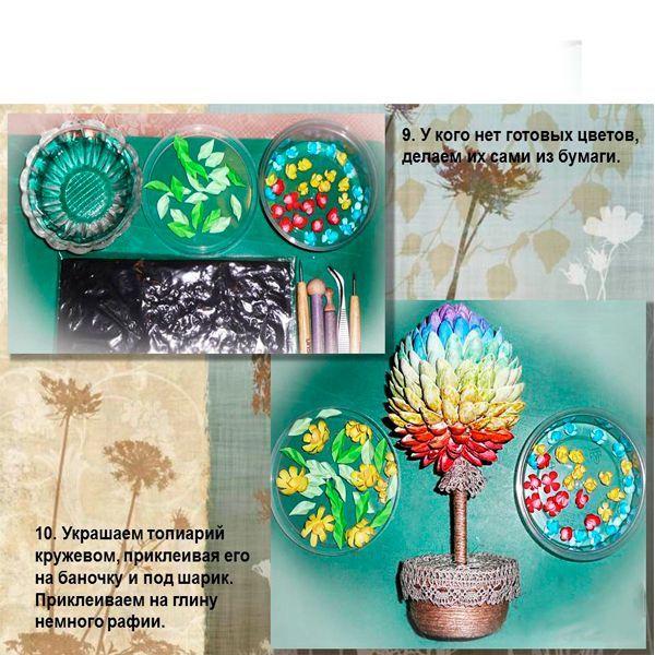 Раскрасим топиарий в яркие цвета, декорируем по вкусу.