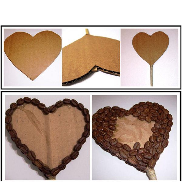 Из гофрокартона вырежем сердечко подходящего размера. Начинаем обклеивать наше сердечко зёрнами кофе.