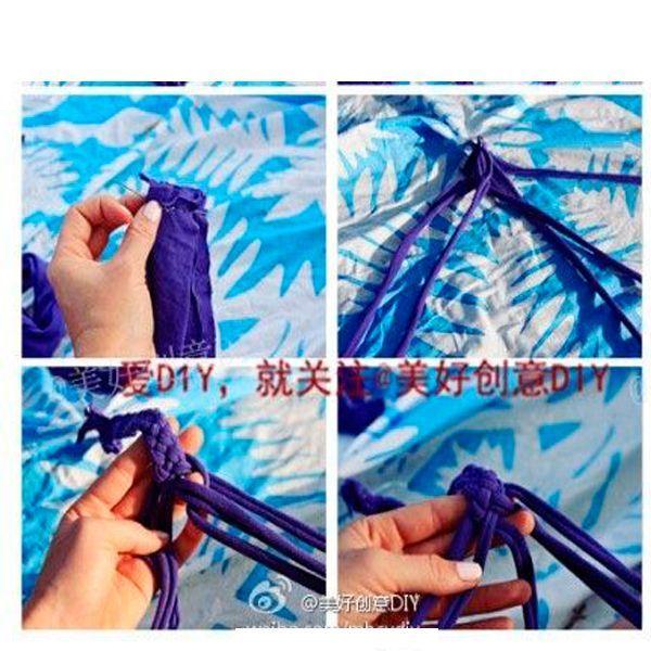 Сплетите косичку из 5 частей. Удобнее начинать плетение, скрепив края полос английской булавкой. Края изделия закрепите.