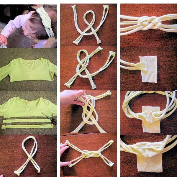 Нарежьте трикотажную футболку на узкие полосы. Повторите узел, который показан на фото. Края соедините, закройте их отрезком ткани. Ободок готов!
