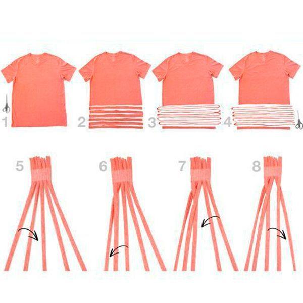Разрежьте футболку так, как показано на фото. Полоски должны получиться тонкими. Начните плетение ободка из 5-ти узких полосок.