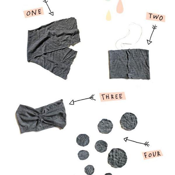 Из ткани вырежьте полосу, сшейте края, чтобы получился ободок. Подойдет ткань, которая слегка тянется. Вырежьте несколько кругов разного диаметра.