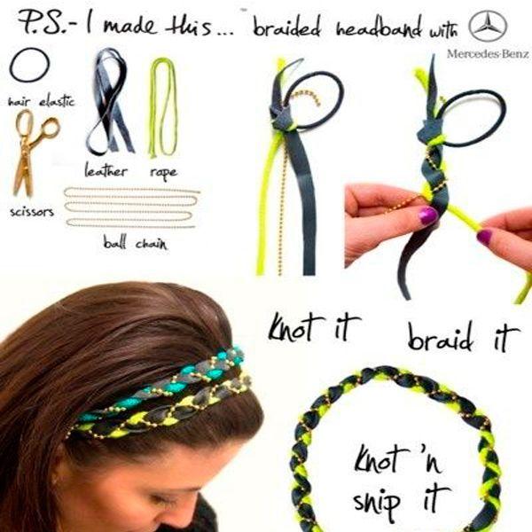 Переплетите ленты со шнуром так, как показано на фото. Особенно красиво будут смотреться два таких ободка в разных оттенках.