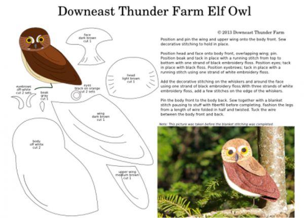 Птицы из фетра. Выкройки. Информация с сайта downeastthunderfarm.com