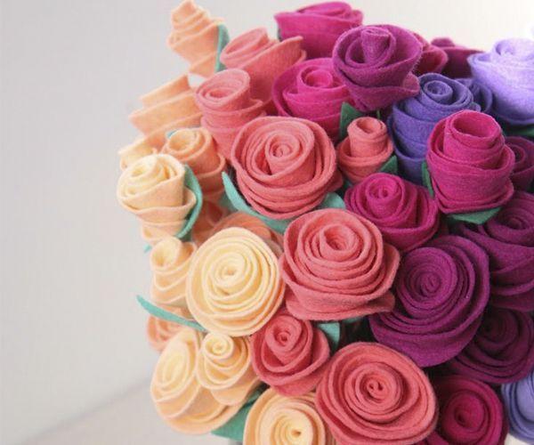 Цветы из фетра, идеи.
