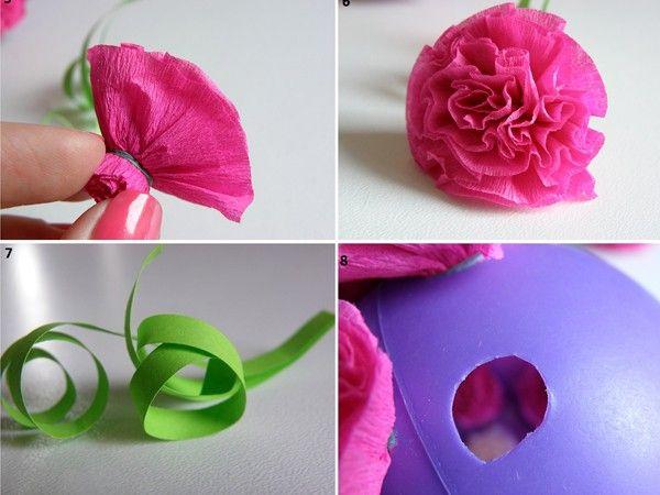 Самые простые цветы из гофрированной бумаги своими руками