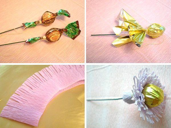 Цветы конфет своими руками пошаговое фото для начинающих