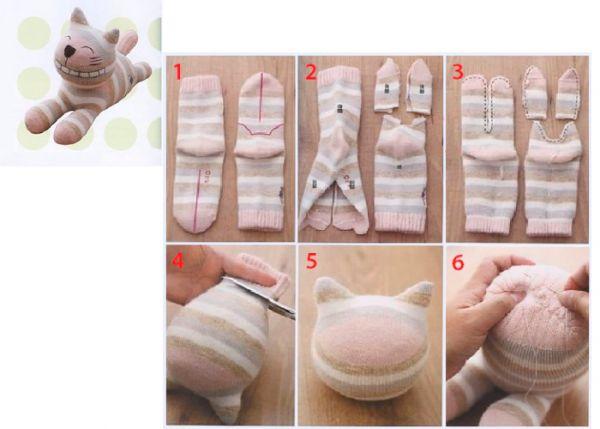 Разложите носочки и нанесите маркером разметку, как показано на фото. Разрежьте носочки по нанесенной разметке, а так же сделайте разрез по линии пальчиков. Сшейте края деталей вручную обметочным швом, как показано на фото.