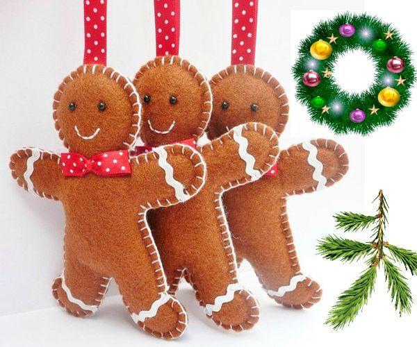 Новогоднюю елку можно украсить пряничными человечками. Фетр для их изготовления - самый подходящий материал. Вам понадобятся: несколько листов фетра, тесьма белого цвета, бусинки для глаз, красная лента для петельки, белые нитки и наполнитель.