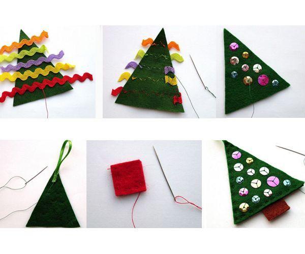 Вырежьте елочки из зеленого фетра. Декорируйте их тесьмой, пуговицами, бусинами. Сшейте детали между собой, заполните наполнителем. Сделайте петельку. Елочная игрушка готова.