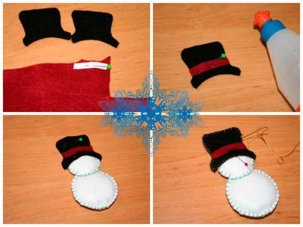 Приложите вырезанный из черного фетра колпак на голову снеговика и зафиксируйте его булавками. Из фетра бордового цвета вырежьте деталь полоски для колпака.