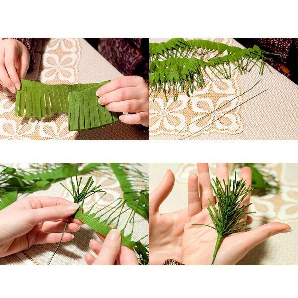 Начинаем выполнять нашу поделку, разрезая полоску зеленой бумаги по длинному краю, таким образом нужно получить бахрому. Далее каждую полоску из вырезанной бахромы нужно закрутить пальцами.