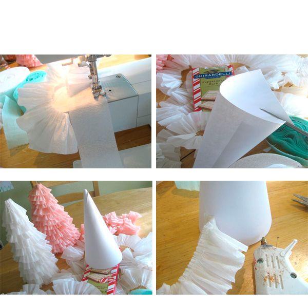 Нарежьте гофрированную бумагу на ленты. Прострочите каждую из них, как показано на рисунке. Начинайте приклеивать ленты к конусу по спирали.