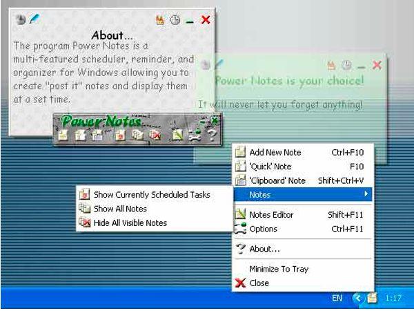 Power Notes - это многофункциональный планировщик, напоминалка, записная книжка для Windows, позволяющая создавать электронные записки (стикеры) и показывать их в нужный момент времени.