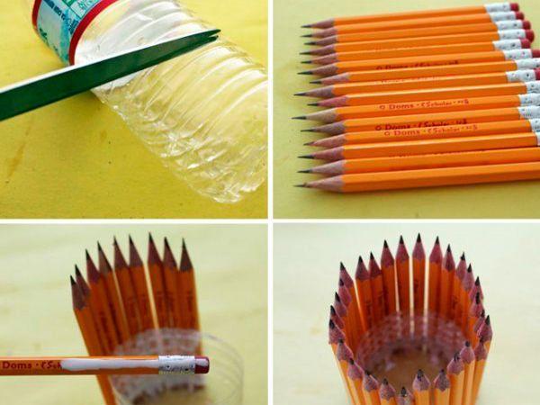 Карандашница. Нужно обрезать бутылку и приклеить вертикально карандаши одинакового размера.