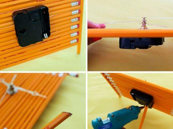Часы. Нужно склеить между собой одинаковый карандаши так, ка показано на фото. Получится табло. Осталось установить стрелки и механизм.