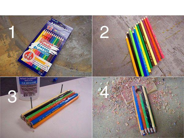 Для начала нужно склеить все карандаши прозрачным клеем, сложив их в два ряда. Для получения разного рисунка лучше выкладывать карандаши в произвольном порядке, в тех цветовых решениях, которые больше по душе.